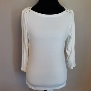 Cream 3/4 sleeve light ralph laurel laced shoulder